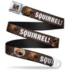 Dug Tongue Out Pose Full Color Black Seatbelt Belt - Dug 3-Poses/SQUIRREL! Brown/Yellow/White Webbing