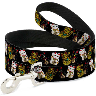 Dog Leash - Maneki Neko Lucky Cats Gold/Black/White
