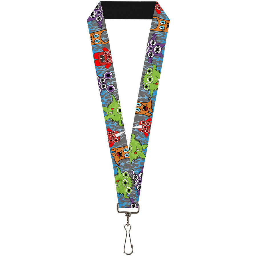 "Lanyard - 1.0"" - Cute Monsters Gray Flame Blue"