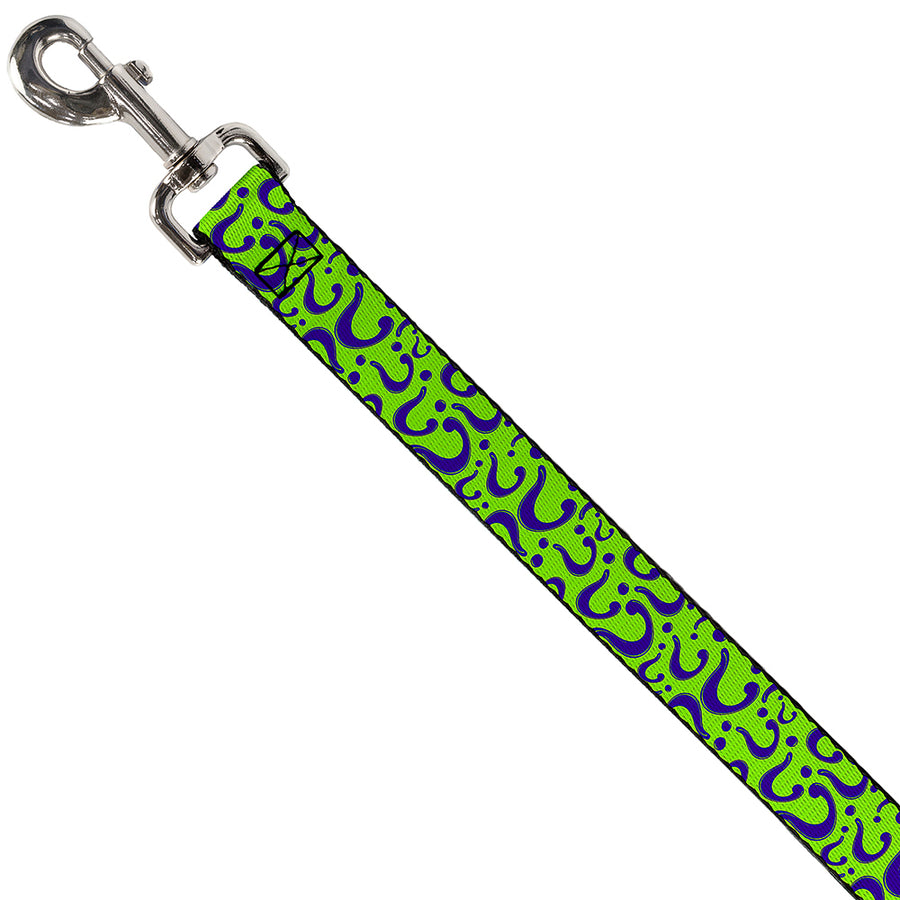 Dog Leash - Question Mark Scattered Lime Green/Purple