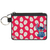 Canvas Zipper Wallet - MINI X-SMALL - Lilo & Stitch Stitch Smiling Pose Lilo Dress Leaves Red Ivory