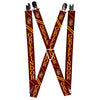 "Suspenders - 1.0"" - GRYFFINDOR Crest Stripe3 Red Gold"