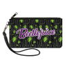 Canvas Zipper Wallet - SMALL - BEETLEJUICE Roach Skull Doodles Collage Black Gray Green Purple
