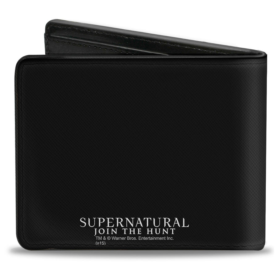 Bi-Fold Wallet - Winchster Pentagram SAVING PEOPLE HUNTING THINGS-THE FAMILY BUSINESS + Logo Black White