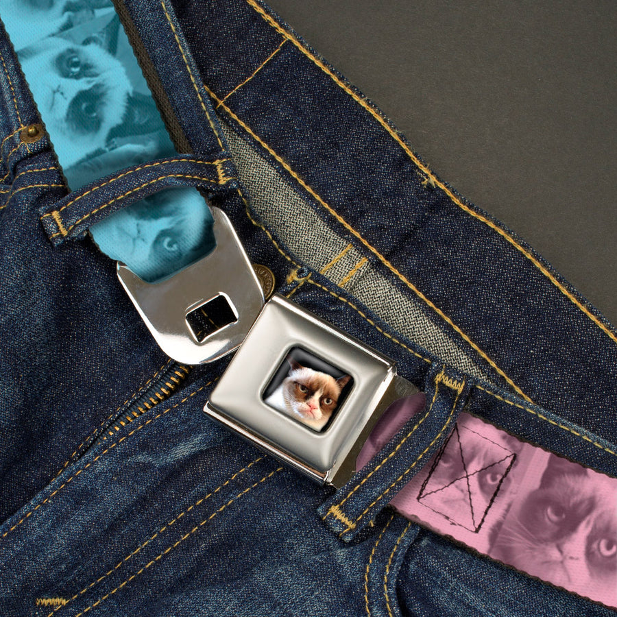 Grumpy Cat Face Full Color Black Seatbelt Belt - Grumpy Cat Poses Ombre Pink/Blue/Yellow Webbing