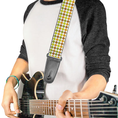 Guitar Strap - Houndstooth White Green Brown
