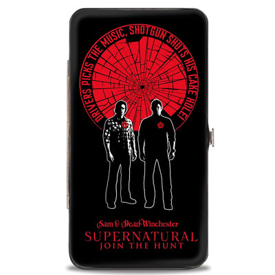 Hinged Wallet - SUPERNATURAL SAM & DEAN WINCHESTER Pose DRIVER PICKS THE MUSIC Shattered Glass Black Red White
