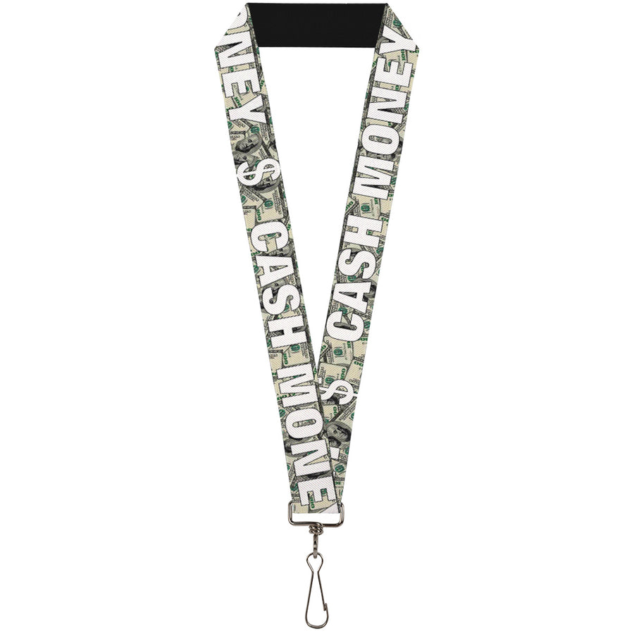 "Lanyard - 1.0"" - CASH MONEY $ Dollars White"