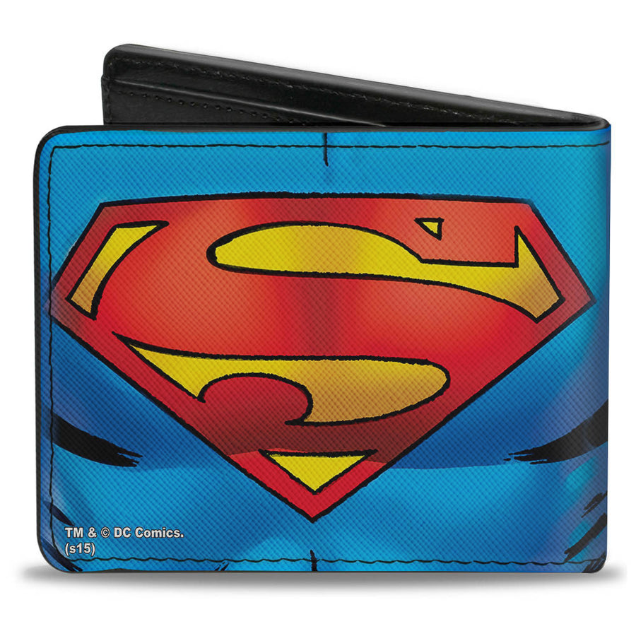 Bi-Fold Wallet - Superman Galactic Battle Chest Logo Blue Red Yellow