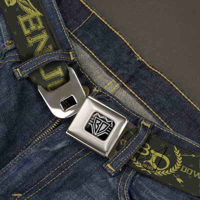 BD Wings Logo CLOSE-UP Full Color Black Silver Seatbelt Belt - BD Winged Skull ENJOY THE RIDE Olive/Lime Green Webbing