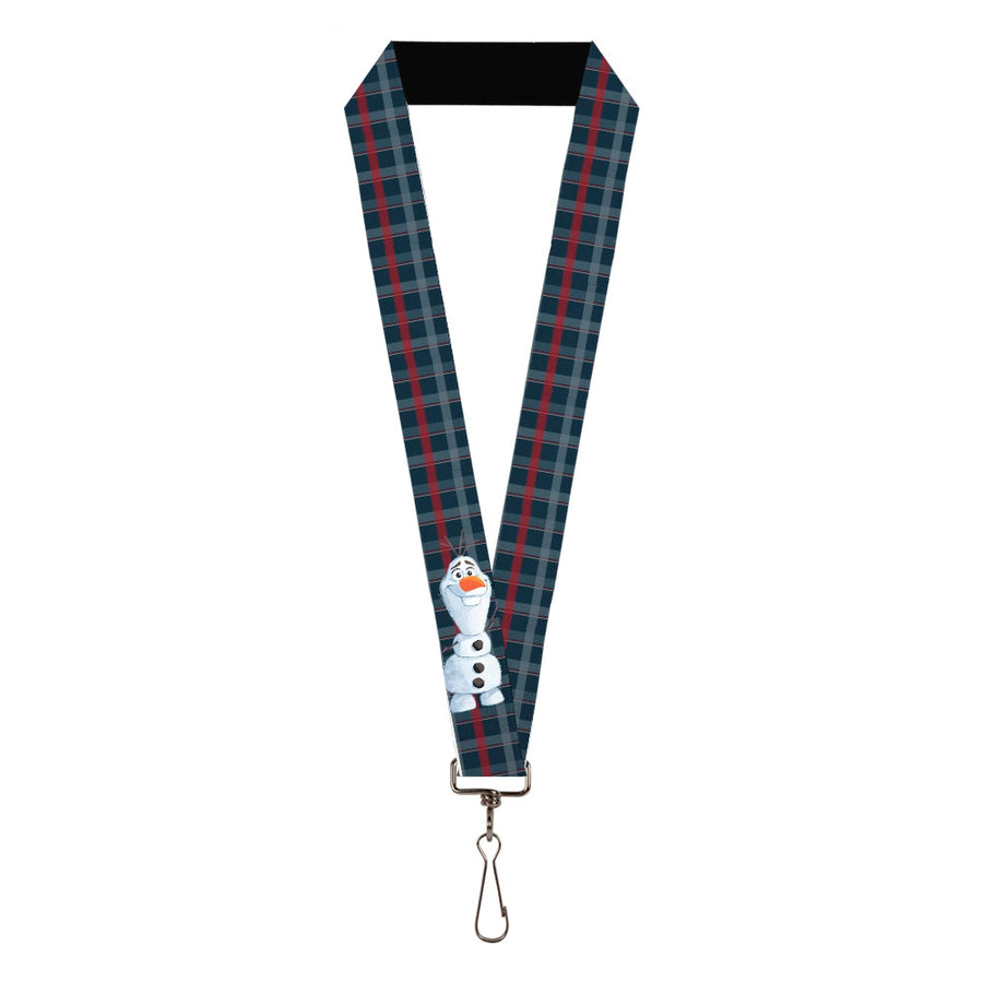 "Lanyard - 1.0"" - Frozen II Olaf Waving Pose Plaid Blues Reds"