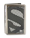 Business Card Holder - LARGE - Superman Shield CLOSE-UP Halftone Brushed Silver