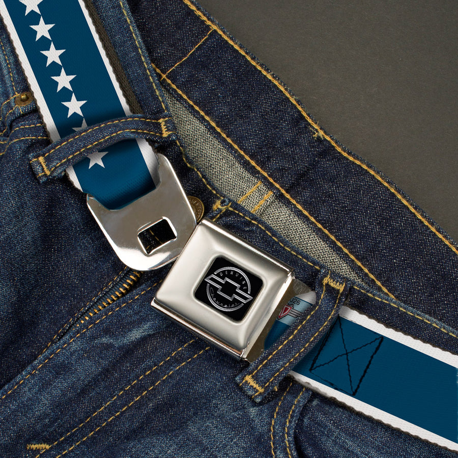 Chevy Seatbelt Belt - CHEVROLET Bowtie/Stars Blue/White Webbing