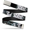 Chrome Buckle Web Belt - TOM & JERRY Face & Pose Sketch Black/White/Red/Blue Webbing
