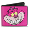 Bi-Fold Wallet - Cheshire Cat Face + Stripes Pinks