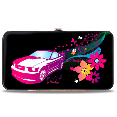 Hinged Wallet - Mustang PONY GIRL Butterflies Flowers Stars Black Pinks Purples