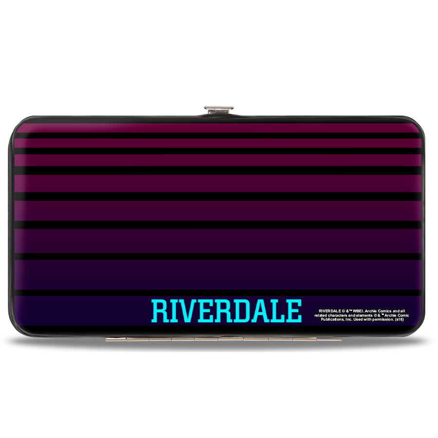 Hinged Wallet - Riverdale POP'S CHOCK'LIT SHOPPE Logo Stripes Black Pinks Blues