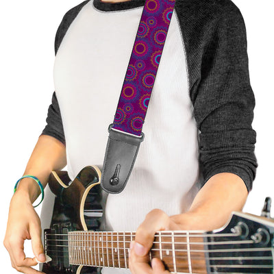 Guitar Strap - Jagged Rings Purples Blues Yellow