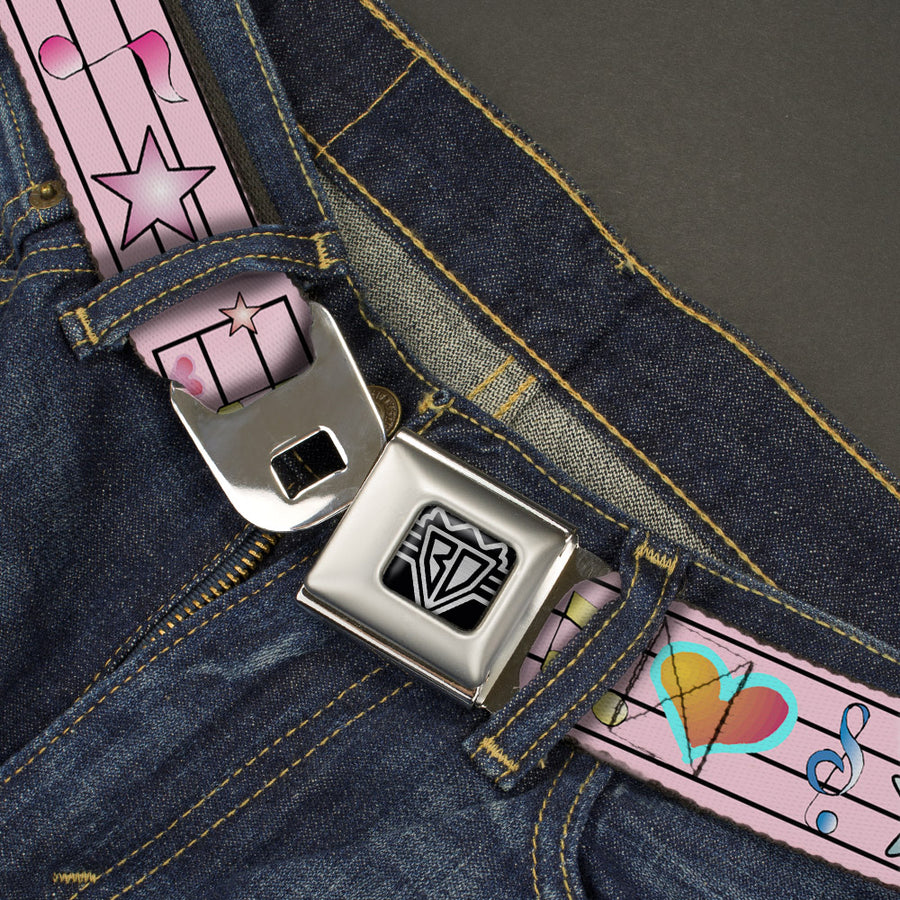 BD Wings Logo CLOSE-UP Full Color Black Silver Seatbelt Belt - Music Notes Pink Webbing
