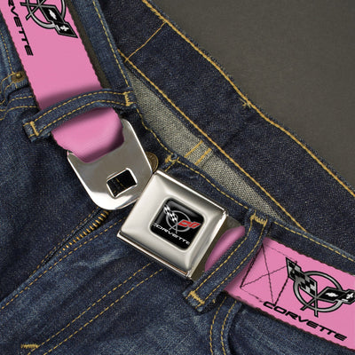 Corvette Seatbelt Belt - CORVETTE C5 Logo Repeat Pink/Black/Silvers Webbing