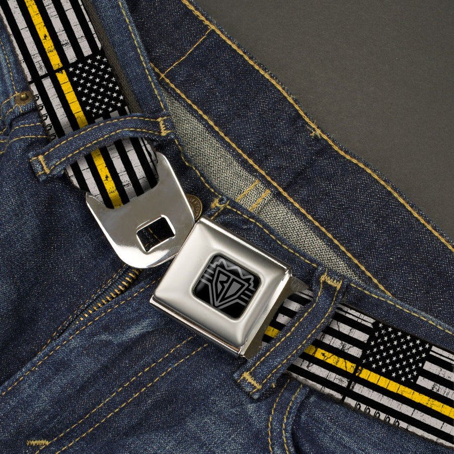 BD Wings Logo CLOSE-UP Black/Silver Seatbelt Belt - Thin Yellow Line Flag Weathered Black/Gray/Yellow Webbing