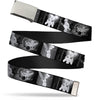 Chrome Buckle Web Belt - Tinker Bell Scenes Black/White Webbing