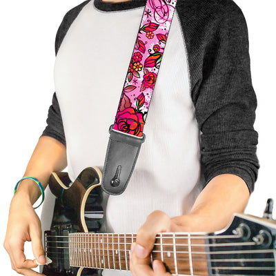 Guitar Strap - Born to Blossom Pink