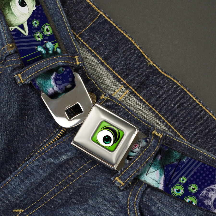 Monster Wide Eye Full Color Seatbelt Belt - Monsters University Sully & Mike Poses/GRRRRR! Webbing