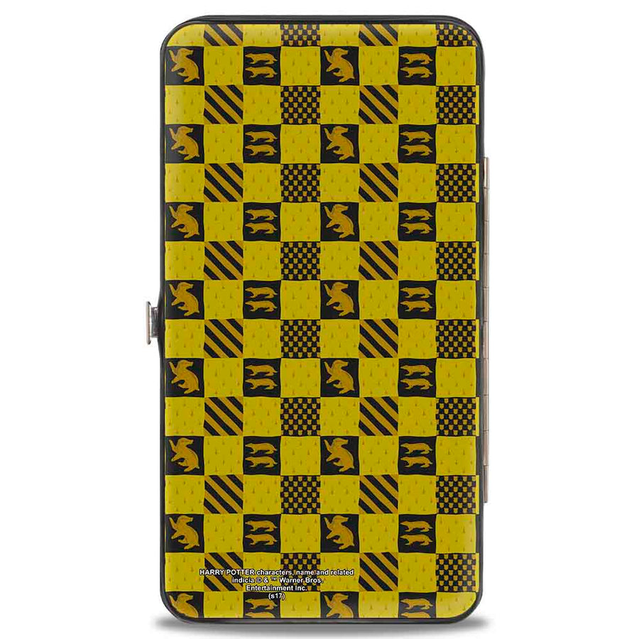 Hinged Wallet - Harry Potter HUFFLEPUFF Crest Heraldry Checkers Golds Black