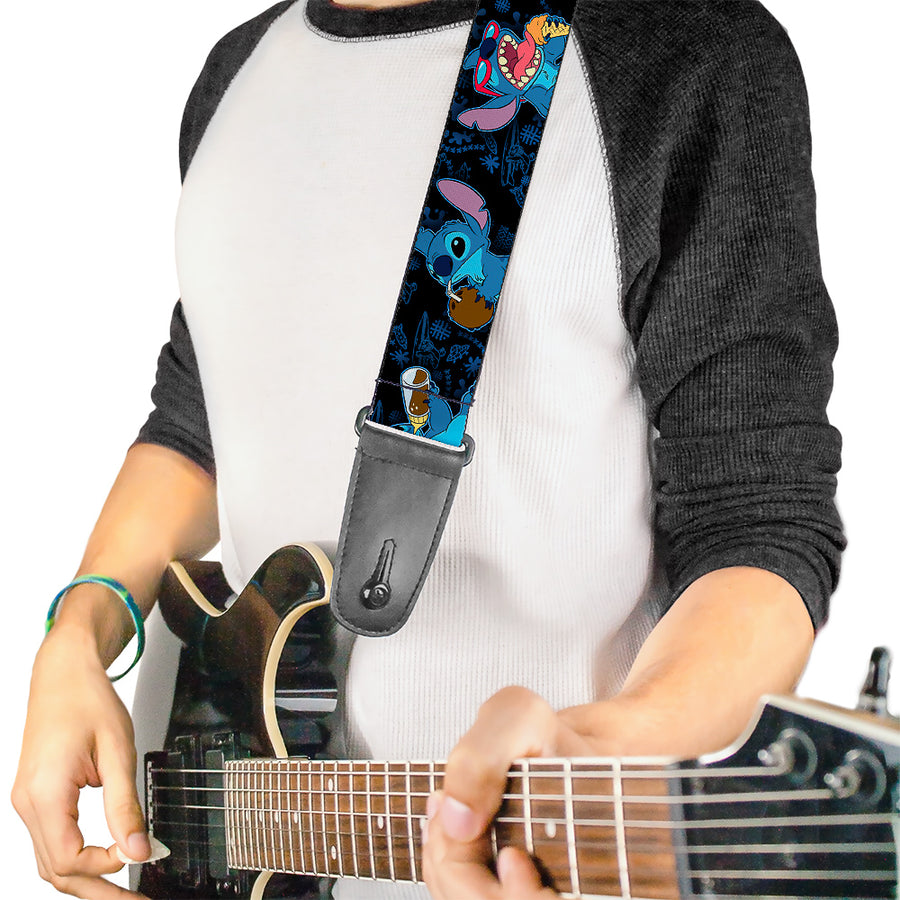 Guitar Strap - Stitch Snacking Poses Black Blue