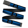 Black Buckle Web Belt - MOPAR Logo/Stripe Black/Blue Webbing