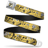 Belle Profile Sketch Full Color Light Yellow Black Seatbelt Belt - BELLE Sketch Poses/Flowers/Bows Light Yellow/Black Webbing
