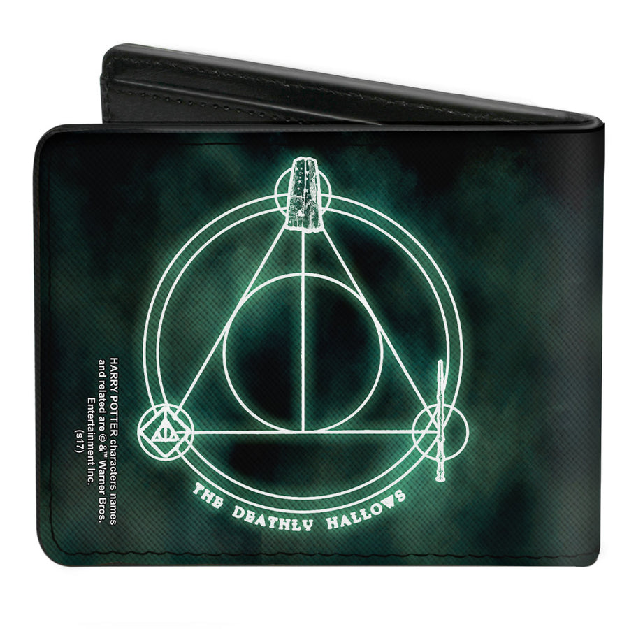 Bi-Fold Wallet - THE DEATHLY HALLOWS Cloak Stone Wand Trinity Black Greens