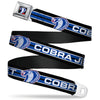 Cobra Head Full Color Black Red Blue White Seatbelt Belt - COBRA JET/Cobra Head Stripe Black/White/Blue Webbing