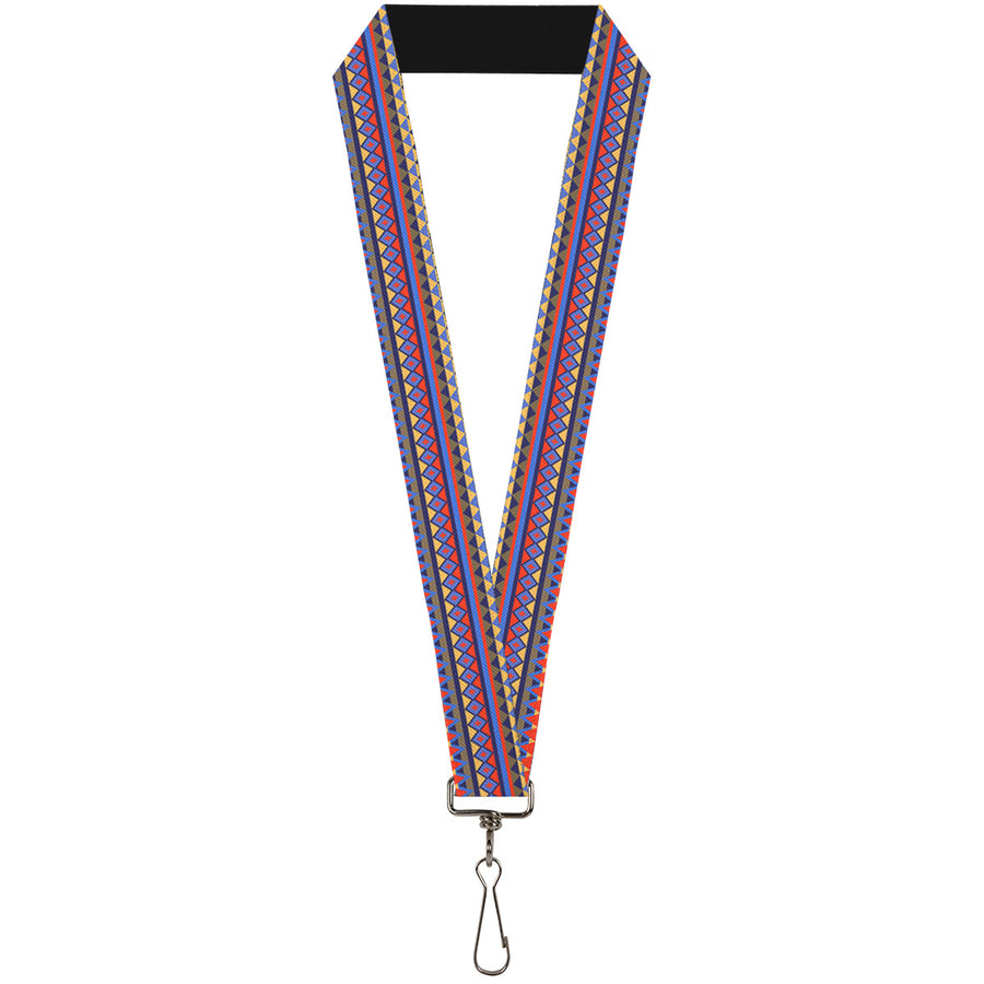 "Lanyard - 1.0"" - Aztec 15 Blues Yellow Orange Gray"