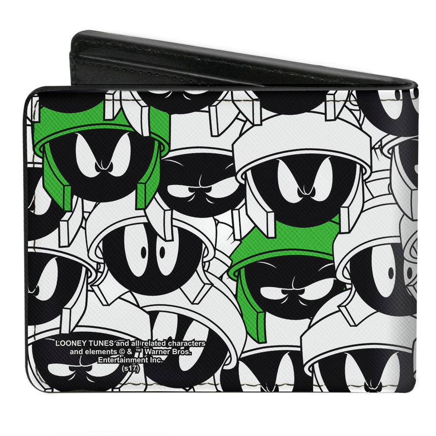 Bi-Fold Wallet - Marvin the Martian Expressions Stacked White Black Green Yellows