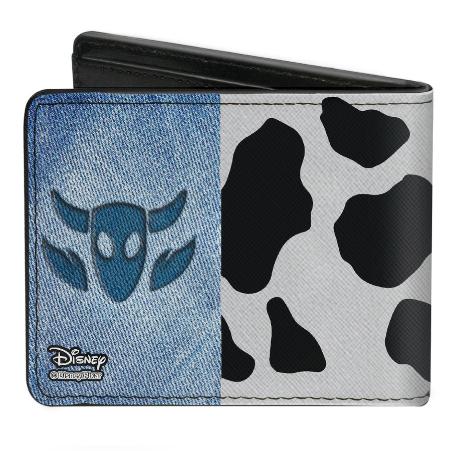 Bi-Fold Wallet - Toy Story Woody Denim Cowboy Bull Icon Cow Print White Black