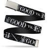 Chrome Buckle Web Belt - Harry Potter GOOD VS. EVIL Black/White Webbing