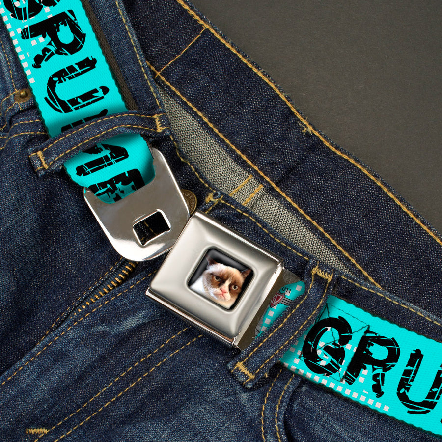Grumpy Cat Face Full Color Black Seatbelt Belt - GRUMPY CAT Scratched w/Face CLOSE-UP Turquoise/White/Black Webbing