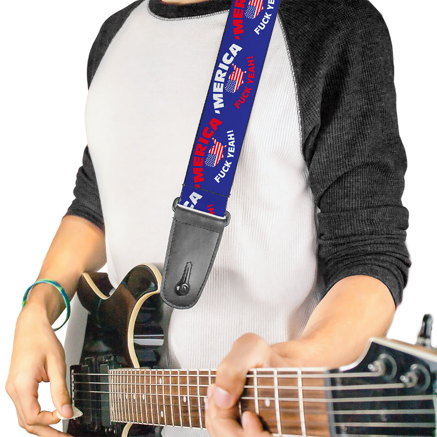 Guitar Strap - MERICA FUCK YEAH! USA Silhouette Blue White Red US Flag