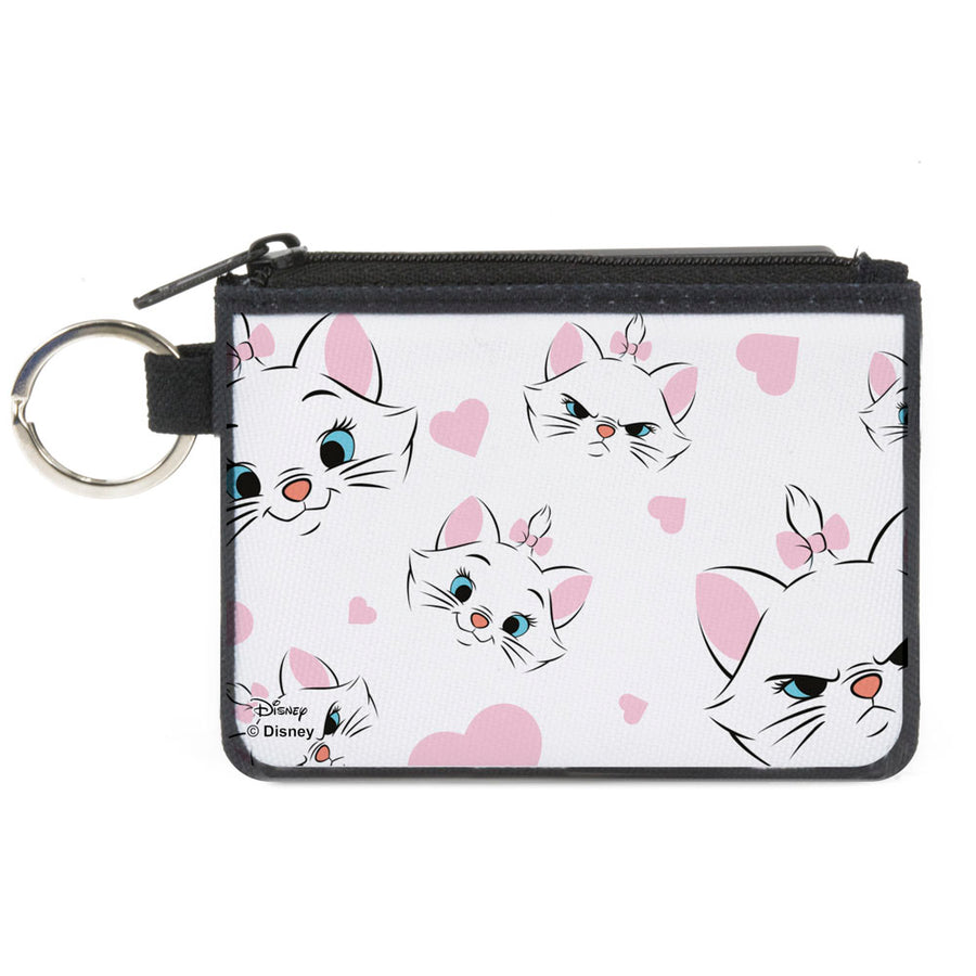 Canvas Zipper Wallet - MINI X-SMALL - Aristocats Marie Expressions Hearts Scattered White Pink