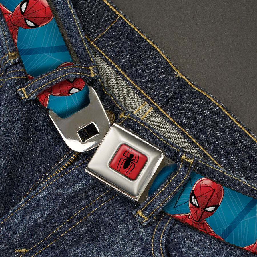 2016 SPIDER-MAN Spider Logo5 Full Color Red Black Seatbelt Belt - Spider-Man 6-Expressions/Spiderwebs Blues Webbing