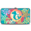 Hinged Wallet - Ariel Pose Silhouette Shells & Sea Flowers Collage Aqua Blue Multi Color