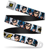 Batman Full Color Black Yellow Seatbelt Belt - Batman & Robin Blocks White Webbing