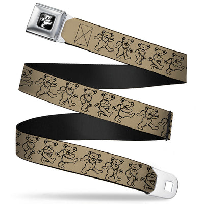 Grateful Dead Bear Seatbelt Belt - Dancing Bears Tan/Black Webbing