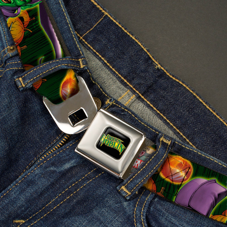 MARVEL UNIVERSE GREEN GOBLIN Full Color Black Yellow Green Seatbelt Belt - Green Goblin CLOSE-UP Poses/Pumpkin Bombs/Pumpkins Green Webbing