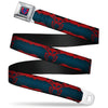 ULTIMATE SPIDER-MAN Spider-Man 2099 Face CLOSE-UP Full Color Black-Fade Red Seatbelt Belt - Spider-Man 2099 Suit Logo 2099 Navy/Red Webbing