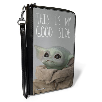 Women's PU Zip Around Wallet Rectangle - Star Wars The Child Vivid Looking Up Pose THIS IS MY GOOD SIDE Gray White