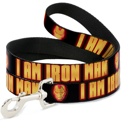 Dog Leash - Iron Man Face/I AM IRON MAN Black/Yellow Glow