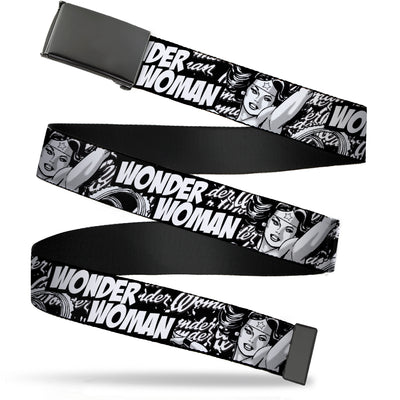 Black Buckle Web Belt - WONDER WOMAN Action Pose/Text Collage Black/White/Grays Webbing